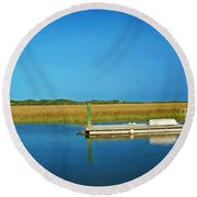 Dock And Marshes Round Beach Towel
