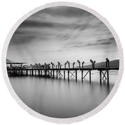 Dock At Autumn Round Beach Towel