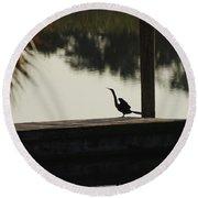 Dock Bird In Color Round Beach Towel