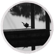 Dock Bird Round Beach Towel