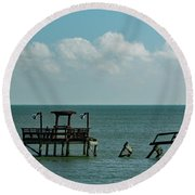Dock By The Sea Round Beach Towel