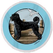 Dock Dog  Round Beach Towel