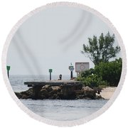 Dock Girl Round Beach Towel