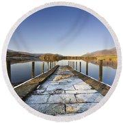 Dock In A Lake, Cumbria, England Round Beach Towel