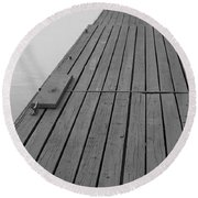 Dock In Black And White Round Beach Towel