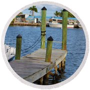 Dock In The Keys Round Beach Towel