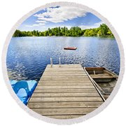 Dock On Lake In Summer Cottage Country Round Beach Towel by Elena Elisseeva
