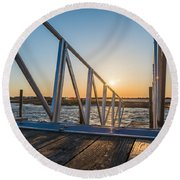 Dock On The Bay Round Beach Towel