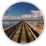 Dock On The Lake Round Beach Towel