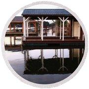 Dock Reflections Round Beach Towel