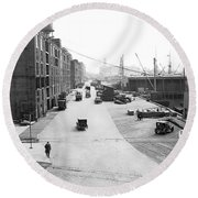 Dock Scene In New York City Round Beach Towel