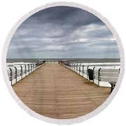 Dock With Benches, Saltburn, England Round Beach Towel