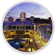 Docked In Monte Carlo Round Beach Towel