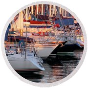 Docked Yatchs Round Beach Towel by Carlos Caetano