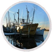 Docks At Darien  Round Beach Towel