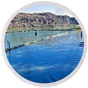 Docks Form Perimeter Of Dierkes Lake In Snake River  Near Twin Falls-idaho  Round Beach Towel