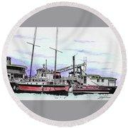 Docks N Boats Round Beach Towel
