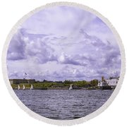 Dockside At Fort Trumbull Round Beach Towel