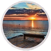 Dockside Sunset By H H Photography Of Florida Round Beach Towel