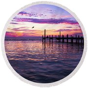 Dockside Sunset Round Beach Towel