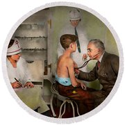 Doctor - At The Pediatricians Office 1925 Round Beach Towel