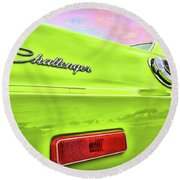 Dodge Challenger In Sublime Green Round Beach Towel