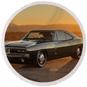 Dodge Charger - 01 Round Beach Towel