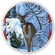 Doe In The Snow Round Beach Towel