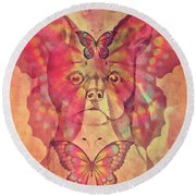 Dog And Butterfly Round Beach Towel