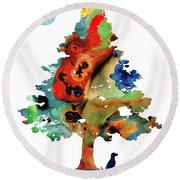 Dog Art - Contemplation 2 - By Sharon Cummings  Round Beach Towel
