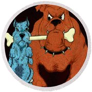 Dog Fight Stand Off Round Beach Towel