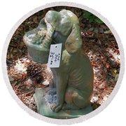 Dog Garden Statues Round Beach Towel