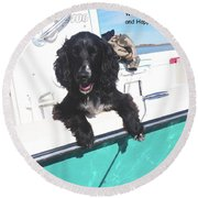 Dog Happy Birthday Card Round Beach Towel