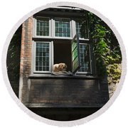 Dog In A Window Above The Canal In Bruges Belgium Round Beach Towel