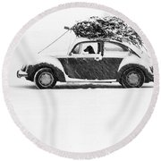 Dog In Car  Round Beach Towel
