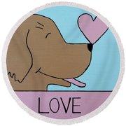 Dog Love Round Beach Towel