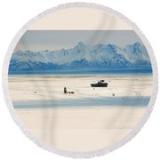 Dog Musher At Cook Inlet - Alaska Round Beach Towel