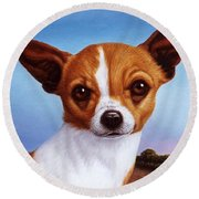 Dog-nature 3 Round Beach Towel by James W Johnson