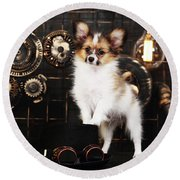 Dog On A Dark Background In The Style Of Steampunk Round Beach Towel