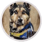 Dog Traditional Drawing Round Beach Towel