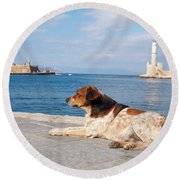 Dog Watch Round Beach Towel
