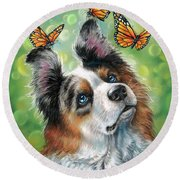 Dog With Butterflies Round Beach Towel