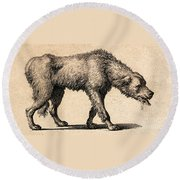 Dog With Rabies, Engraving, 1800 Round Beach Towel