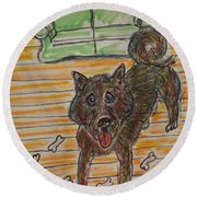 Doggy Snack Time Round Beach Towel