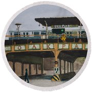 Dogs And Trains In The Village Round Beach Towel