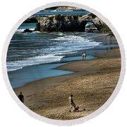 Dogs Beach Santa Cruz California Nature  Round Beach Towel