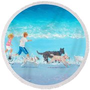 Dogs Day Out Round Beach Towel