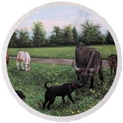 Dogs Meeting Bull Round Beach Towel