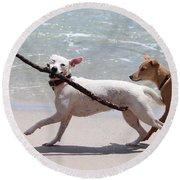 Dogs On The Beach Round Beach Towel