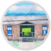 Dogtrot Cracker Home Drawing Round Beach Towel